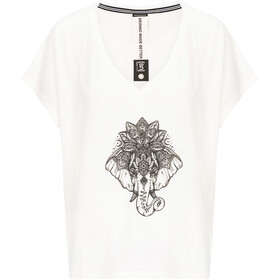 super.natural Jonser Camiseta Mujer, fresh white/jet black elephant print